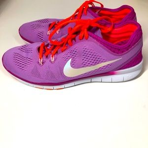 Nike Free 5.0 Purple Iridescent Swoosh Sneakers